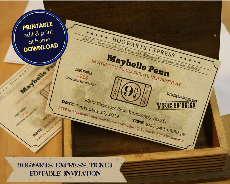 image relating to Hogwarts Express Printable named Hogwarts Specific ticket - printable, editable invitation - obtain, customise print at household