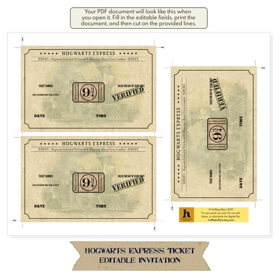 photograph regarding Hogwarts Express Printable called Hogwarts Categorical ticket - printable, editable invitation - obtain, customise print at property