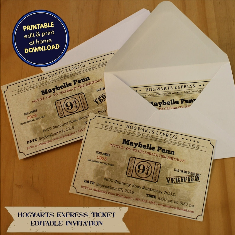 picture regarding Hogwarts Express Ticket Printable named Hogwarts Convey ticket - printable, editable invitation - down load, customise print at dwelling
