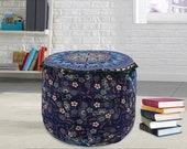 Bohemian Elephant Mandala Cotton Chair Pouf Cover Indian Ottomans Footstools Round Cushion Cover Bohemian Pouffe Floor Pouf Cover