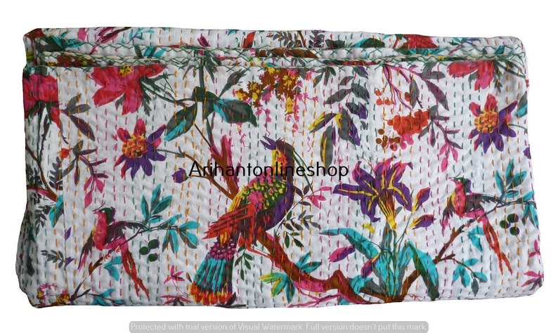 Hippie Single White Bird Printed Cotton Blanket Large Bedding Throw Room Bedspread Hippie Kantha Quilt Bohemian Bedspread Bedroom Coverlets