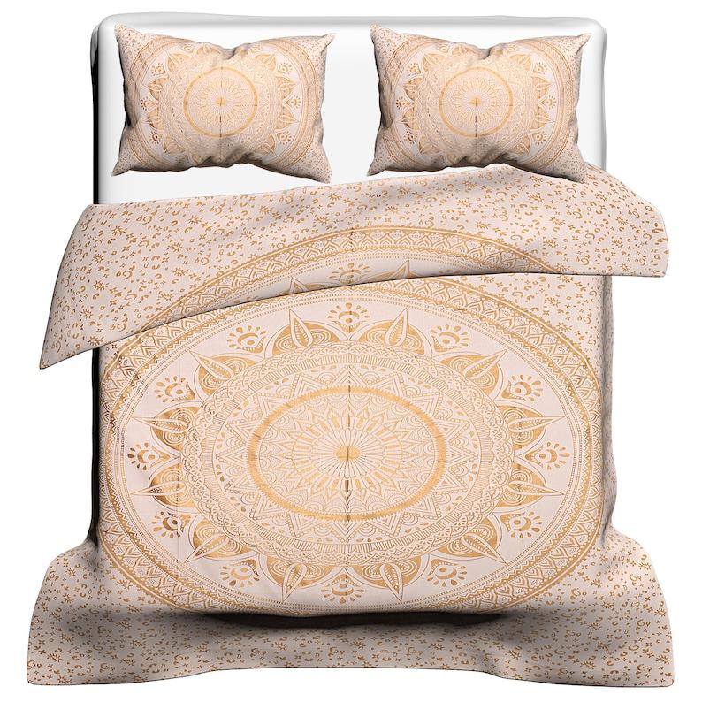 Ombre Mandala Cotton Queen Size Duvet Cover Full Set Ethnic Indian Quilt Cover