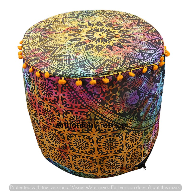 Mandala Floor Pillow Cover Indian Handmade Round Mandala Bohemian Multi Color Pouf Cover Hippie Ottomans Footstools Chair Siting Cover