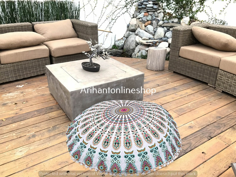 Cotton Floor Pillow Cover Large Indian Cotton Mandala Ottomans Cover Hippie Peacock Pouffe Cover 32/'/' Inch Cushion Cover