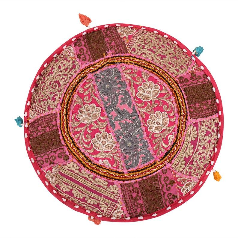 Vintage Handmade Floor Cushion Cover Seat Round Floor Gaddi Boho Style Banjara Home decorative Patchwork Gypsy Round Cushion Cover