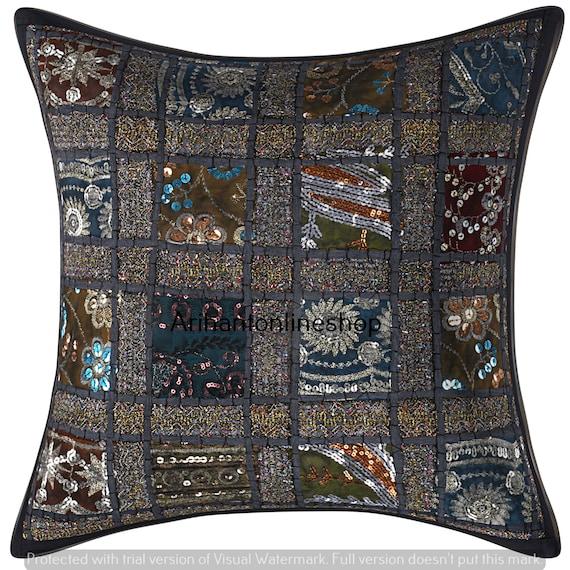 Decorative Throw Pillow Hippie Indian Patchwork Kantha Cushion Cover Silk Patola