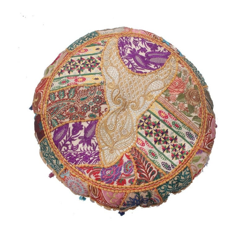 Indian Round Floor Pillow Floor Cushion Boho Throw Seating Pouffe Foot Stool Handmade Cotton Embroidery Pouf Cover