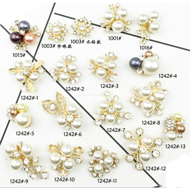 5pcs Pearl CZ Diy Hair Accessories Jewelry Rhinestone button broach Embellishment Wedding Comb Wholesale Craft Supplies BB291-1242#7