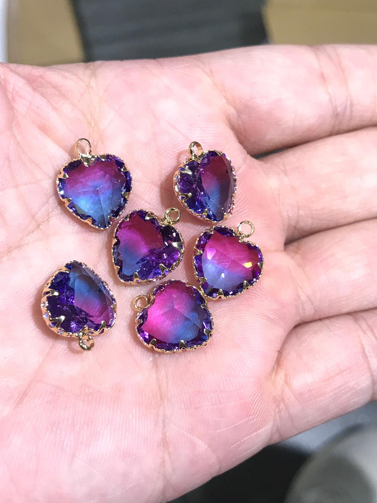 Pink Hearts Pendant 16x13mm Glass Jewelry making earring making Component crystal Charms gold plated Findings Craft Supplies ys1106-5