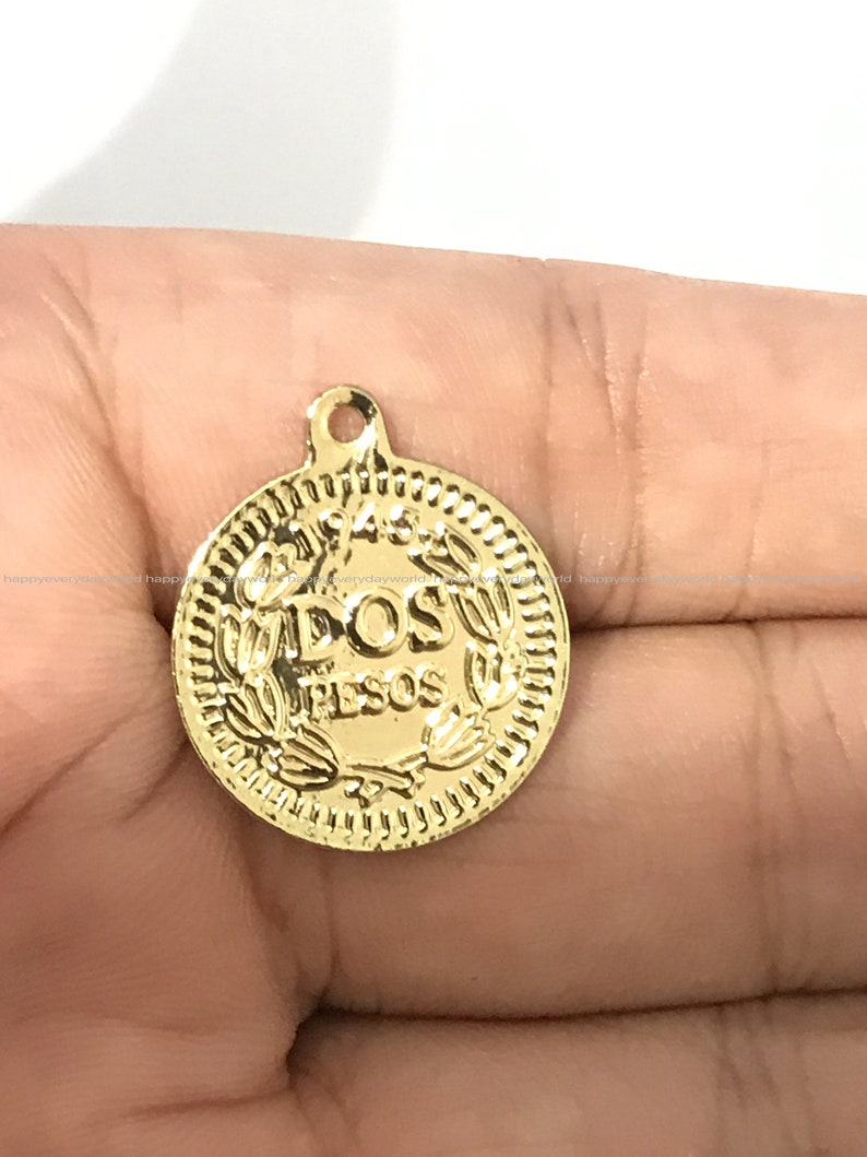 gold coin Round Pendant 18mm charms Coin Gold Plated earring making Necklace pendant Jewelry Wholesale Findings Craft Supplies ys1424-3