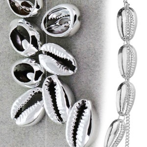Bulk 30pcs 16x10mm Natural Real Sea Cowire shell Silver Ocean Beads charm jewelry Pendant Accessories Findings Wholesale Supplies nn483-v10