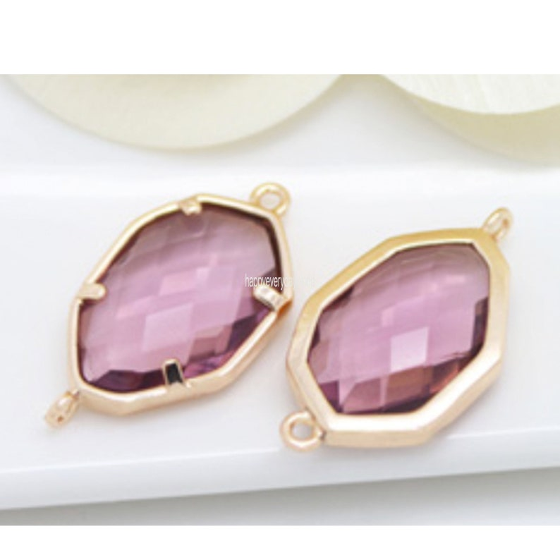 Polished Original Rhodium Plated over Brass   2 Pcs Jewelry Craft Supplies Amethyst Glass Connector CG052-PR-AM