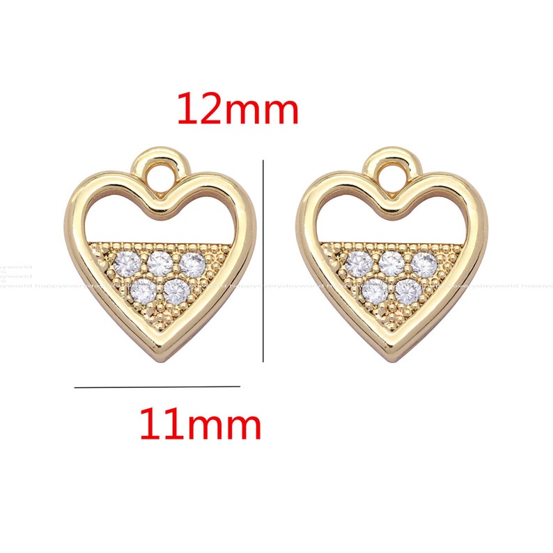 3pcs 11x12mm heart high quolity crystal 14k gold plated Charms Beads Pendant DIY Jewelry Gold Findings Wholesale Supplies gh416-3