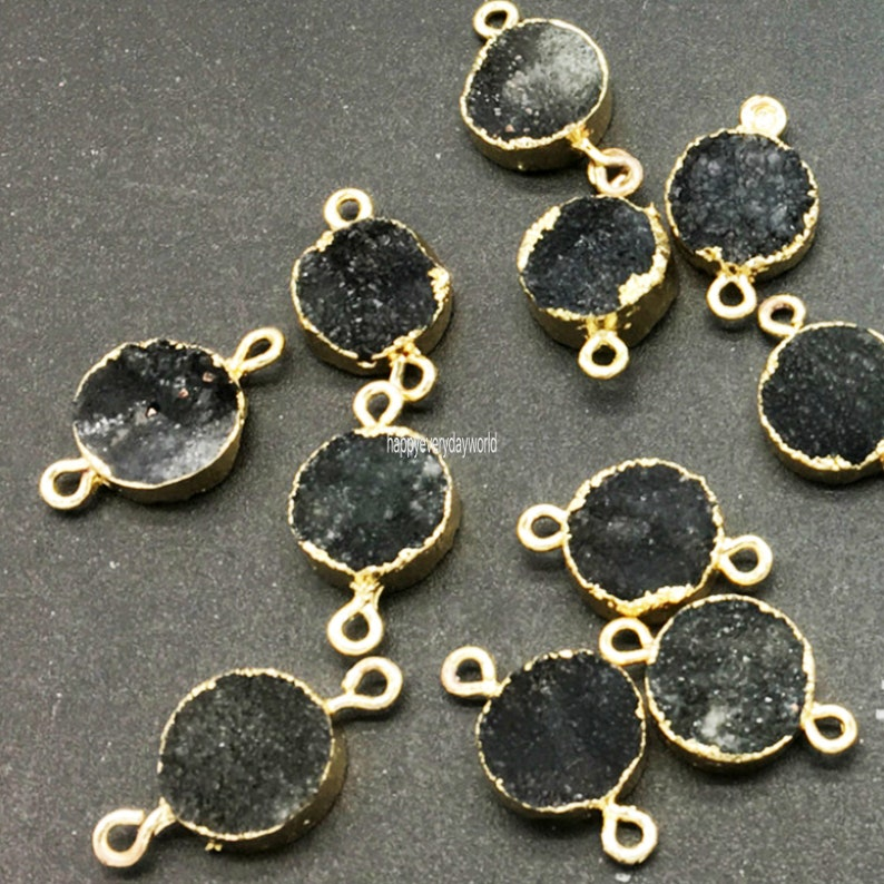 2pcs Onxy Black Natural Gemstone connector 12mm agate Charms Stone Pendant gold Plated DIY Jewelry Findings Craft Supplies BB249-black