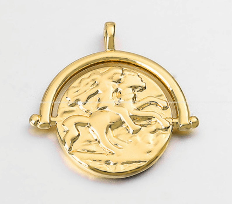 Design Horse Round Pendant 19.5x20mm Round charms Coin Gold Plated earring making Necklace pendant Wholesale Findings Craft Supplies ga839-3