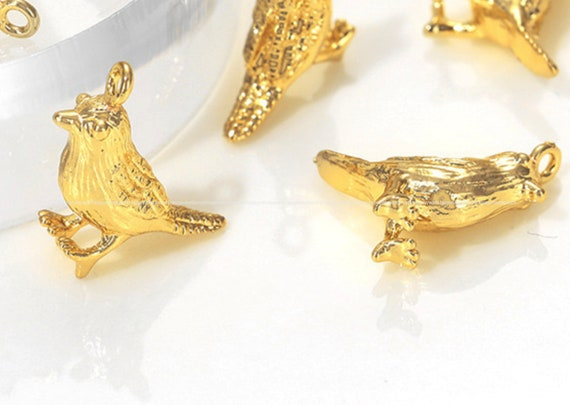 Details about  /14k 14kt Yellow Gold Polished Bird Long Tail Charm PENDANT 30.6 mm X 16.15 mm