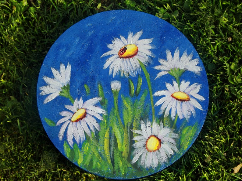 HOUSE WARMING GIFT,Hand Painted Paver,Daisy Garden Art, Stepping Stone  CraftsFromTheHeart25