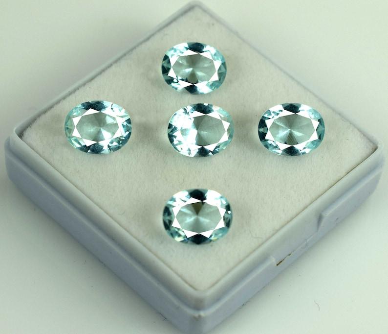 Aquamarine 9.50 Ct Loose Gemstone Lot 5 Pcs 100/% Natural Oval Cut AGSL Certified