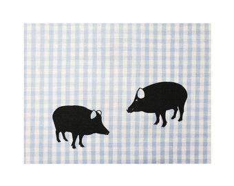 Tea towel with wild boar print