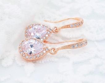Bridal earrings rose gold drop 925 silver earwires