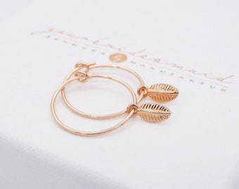 Hoop earrings rose gold 925 silver leaf bridal jewelry leaflets