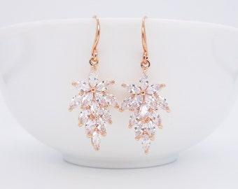 Bridal earrings rose gold crystal leaves floral bridal jewelry ear hooks