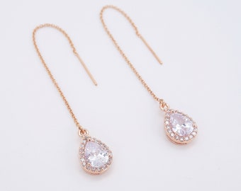 Bridal earrings rose gold crystal threader bridal jewelry pull-through