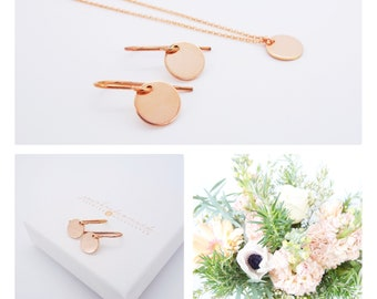 Jewellery set rose gold 925 silver plate earrings necklace bridal jewelry set modern
