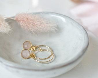 Hoop earrings rose quartz, gold stud earrings, bridal jewelry, birthstone January