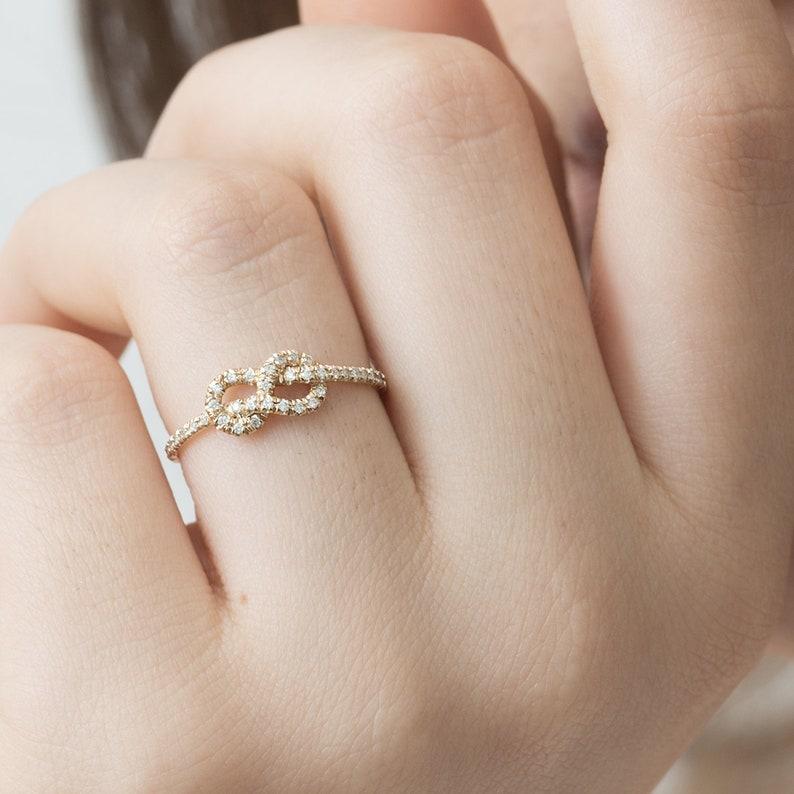 Love Knot Diamond Ring Promise Ring Thin Diamond Ring Diamond Wedding Band Engagement Ring Gold and White Diamond Infinity Ring