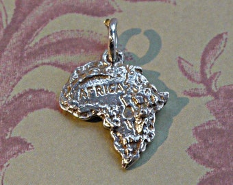 BULK 10 Africa charms antique silver and red enamel WT116