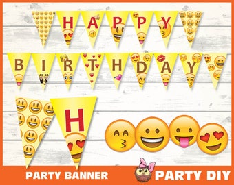 EMOJI Birthday Flag Banner Emoji Party Printable Emoticons Instant Download Digital File Diy