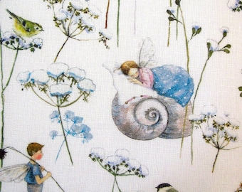 Fabric elves blue children's fabric Daniela Drescher acufactum