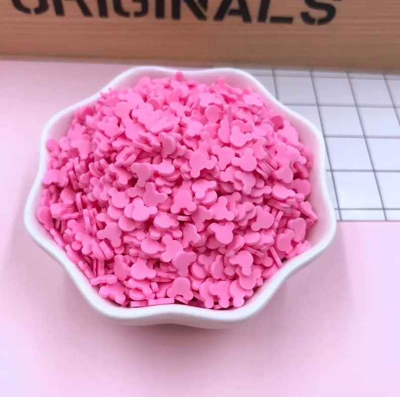 50g fake sprinkles, fake sprinkles for slime, slime sprinkles, faux candy  toppings, polymer clay sprinkle, dessert food, mouse head, pink