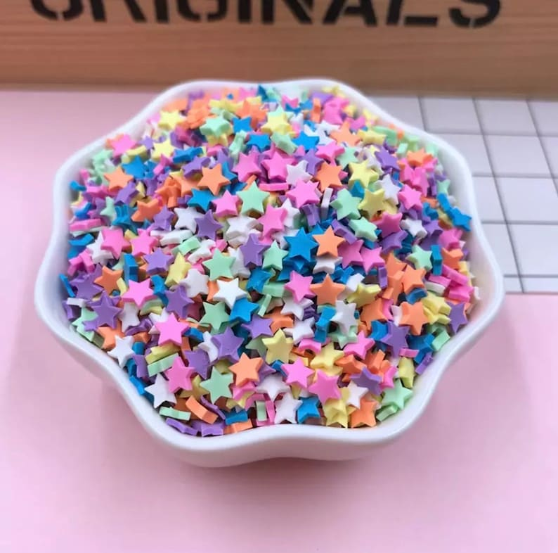 50g tiny star confetti, colourful kawaii stars sprinkles, kawaii ice cream  sprinkles, decoden candy canes, polymer clay slices, faux food