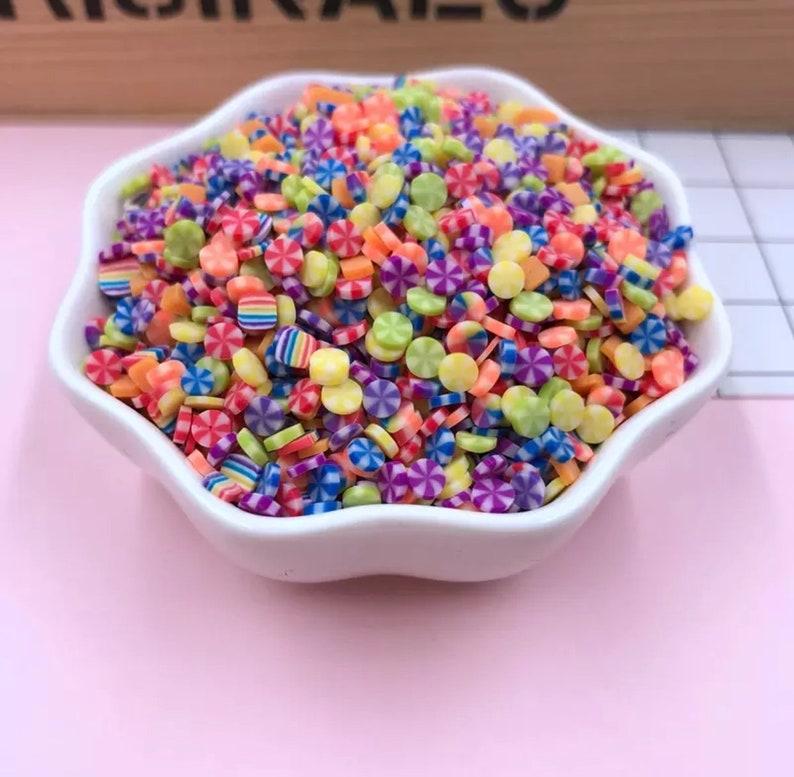 50g kawaii sprinkles, fake sprinkles, slime toppings, candy confetti, fake  candy sprinkle, candy swirl slices, mix polymer clay slices