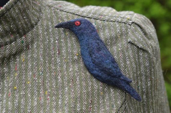 Bird needle felted brooch European pied flycatcher  Ready to ship