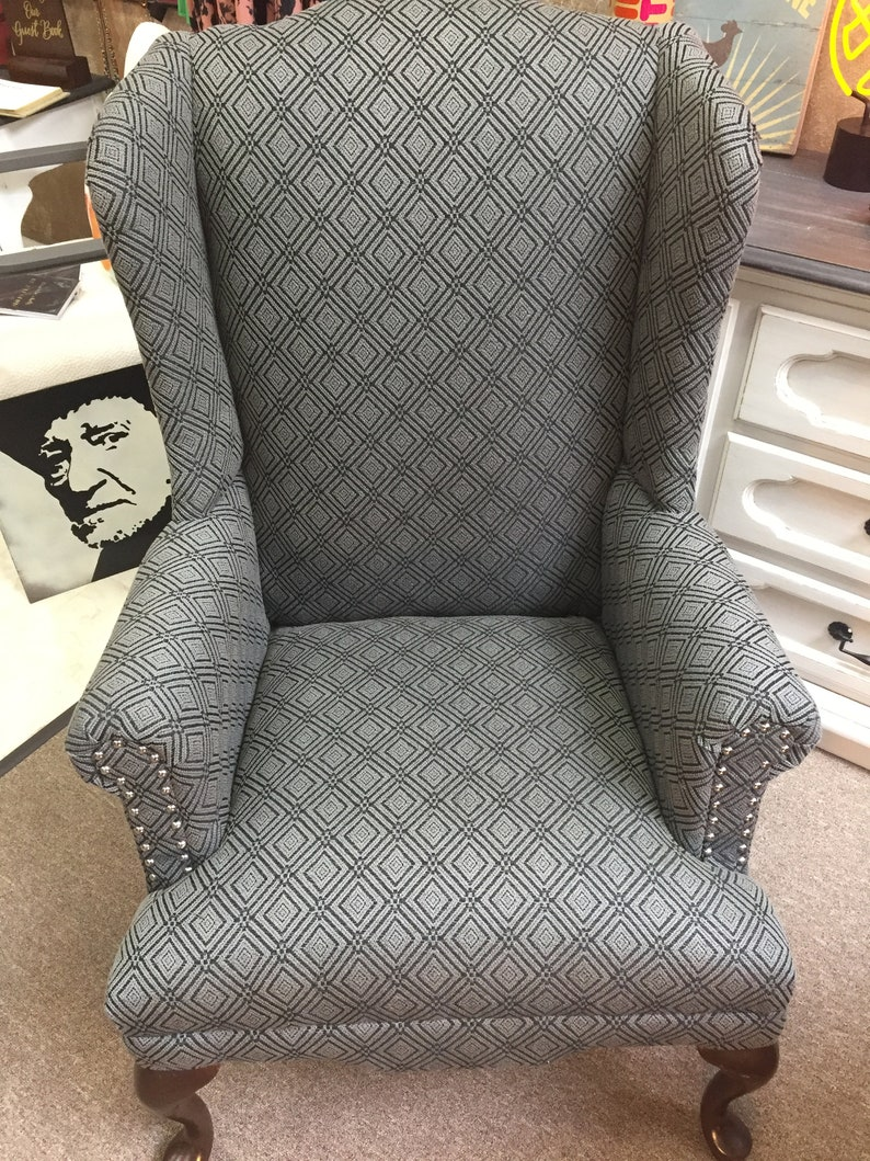 Antique Wingback Chair Grey Black Diamond Print