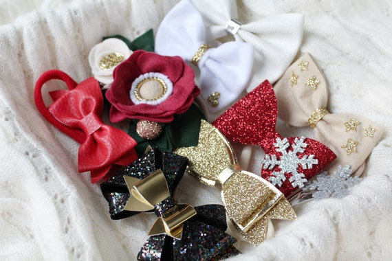 Baby Girl Headbands Christmas Hat With Fur Red Glitter Newborn Baby Girls bows