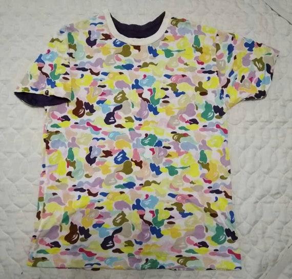 Rare!!!Bape A Bathing Ape Camouflage Candy Colour Reversible Tshirt