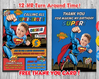 Superman invitation etsy superman invitation with custom face and free thank you card superman superman printable superman birthday invitation stopboris Choice Image