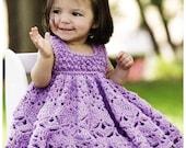 Vintage Crochet Pattern Frilled Baby Dress Ruffled Dress Yoke Party Summer Sun Lace Frilly Berry and Shell Stitch Newborn - 12 Months