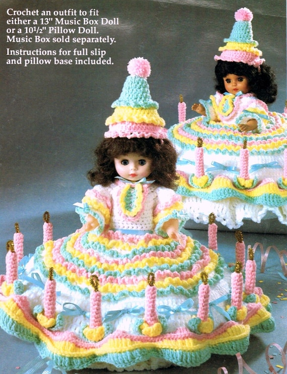 Super Vintage Crochet Pattern Birthday Girl Doll Music Box Bed Or Etsy Funny Birthday Cards Online Barepcheapnameinfo