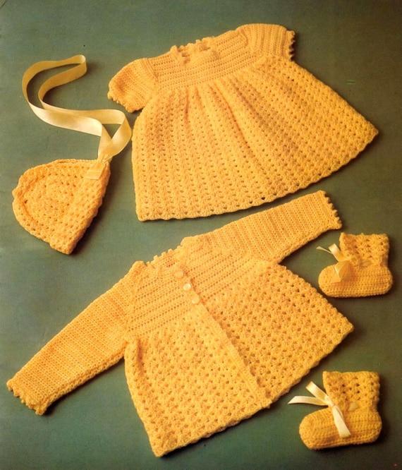 Bonnet Bootees Vintage Crochet Pattern ~ Baby/'s Dress