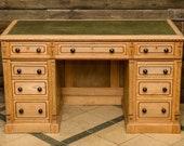 Ancient Art Nouveau desk made of solid wood (ash)
