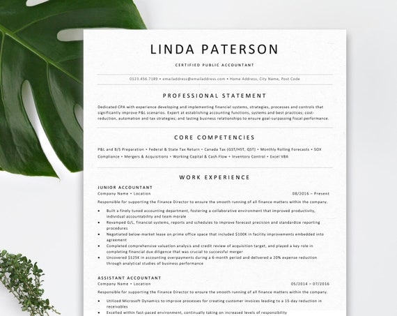 Professional Resume Template for Word | ATS Friendly Resume | Marketing |  Traditional CV Template + Free Cover Letter + References | 1 Page