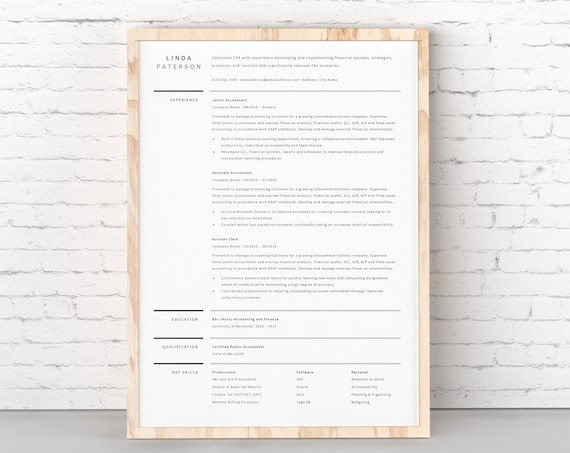 Curriculum Vitae Modern Resume Template For Word 1 Page Etsy