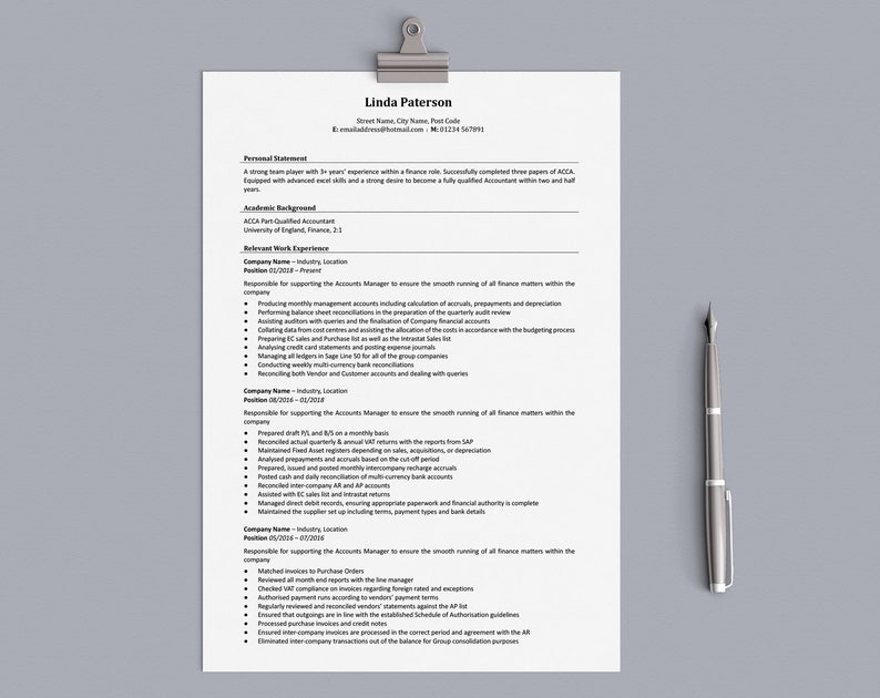 Traditional Resume Template Classic Resume CV Template Word | Etsy