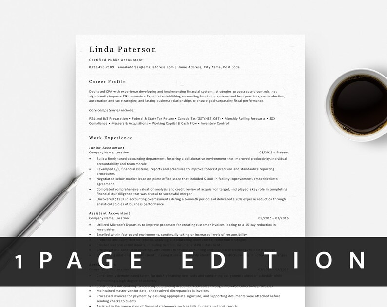 Classic Resume Template | ATS Friendly Resume for Word | Traditional CV  Template + Free Cover Letter + References | 1 Page | Flexible pages