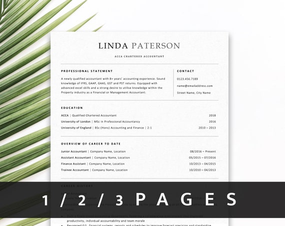 ATS Resume Template | Professional Resume Design | Traditional CV Template  for MS Word + Free Cover Letter | 1 Page, 2 Pages, 3 Pages Resume